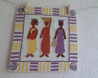 three ladies cross-stitch Embroidery
