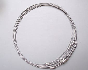 Set of 5 turns neck stiff wire cable 45 cm.