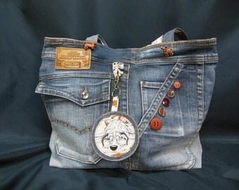 Denim shopping bag and key ring (SJ30)