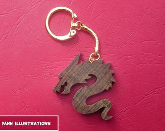 Wooden Dragon 2 solid wood made fretwork keychain
