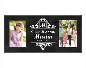 Personalized Wedding Frame, Double Anniversary Frame, Custom Photo Frame, Engraved Picture Frame, Monogram