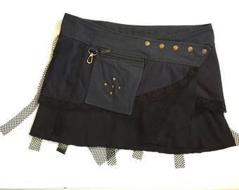 SHREDDED Black Fishnet Trim Popper Wrap Micro Mini Pixie Pocket Belt Skirt, Rock, Goth, Festival, One Size