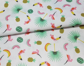 """50cm of fabric """"toucans"""" 100% cotton white background"""
