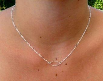 Necklace Sterling Silver 925, faceted ellipse.