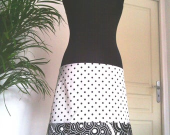 Black Jersey - cotton skirt/strapless dress white polka dot