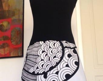 Dress skirt/strapless Jersey black - white cotton printed Peacock