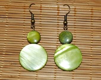 Green Pearl stone earrings