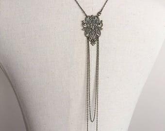 """""""Chloé"""" bronze necklace back wedding jewelry with swarovski pearls"""