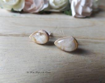 Stud Earrings ovale mini, Pink and white