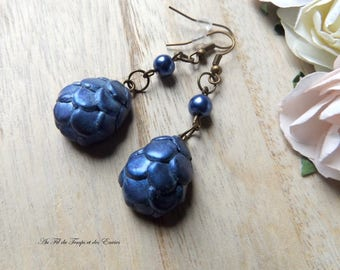 Drop earrings Blue dragon egg