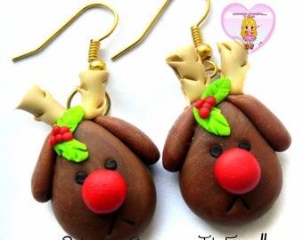 Christmas In Sweetness - earrings of reindeer Santa Christmas Rudolph red nose