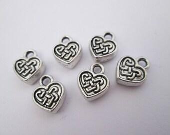 6 breloque coeur celtique en métal argenté 11 x 9 mm