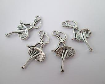 4 breloque danseuse ballerine 25 x 13 mm en métal argenté