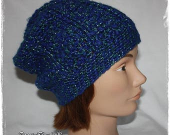 Women green, bright blue crochet hat.