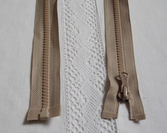 Molded separable 35 cm beige light brown zipper
