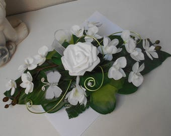 Lime green and white centerpiece 40 cm