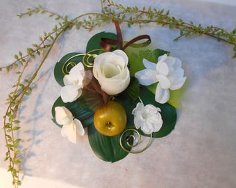 Artificial flowers - ivory, lime and chocolate centerpiece
