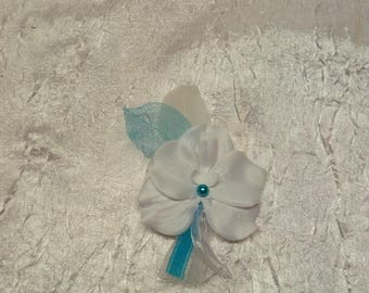 Orchid white turquoise wedding boutonniere