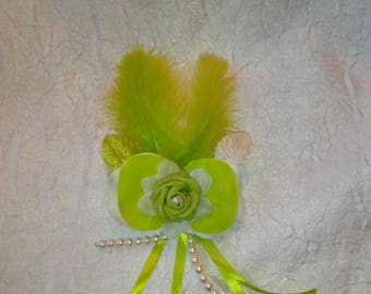 Lime green and white color wedding boutonniere