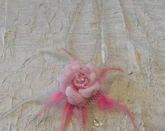 "White flower and pearls ""wedding procession"" pink"