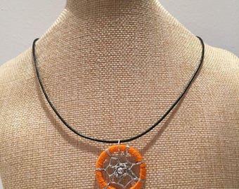 Orange cord dream catcher necklace