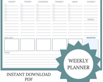 Week At A Glance Printable | Weekly Planner PDF | Week At A Glance | Habit Tracker | Weekly Calendar | Weekly Planner Insert | Modern Design