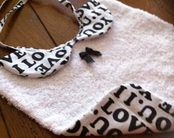 bib collar has Peter Pan very chic cotton reversible black / white