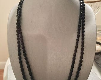 Long Necklace Black Crystal Stone