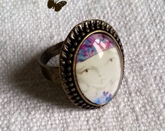 """Cabochon ring """"Awaiting spring"""""""