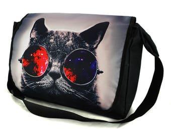 Shoulder Bag Crossbody School College Uni Messenger Bag Galaxy Sunglasses Cat
