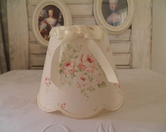 lamp shade for applique or chandelier pattern ivory linen small roses