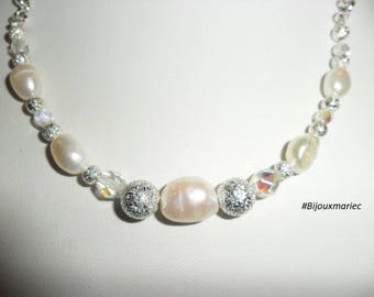 Necklace, cultured pearls, Crystal, pearls, silver, adjustable, 44 + 5 cm silver plated chain.