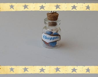 a mini lollipop acidulee red/blue glass jar, handmade