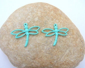 Set of two pendants, charms, green dragonfly