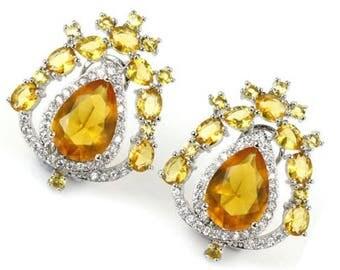Boucles d'oreilles citrine jaune, boucles d'oreilles baroques précieuses, argent