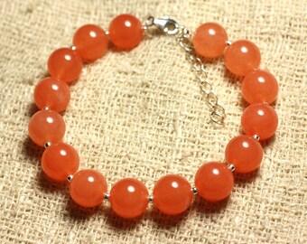 Bracelet 925 sterling silver and 10mm Orange Jade - stone