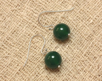 Stone - green 10mm Onyx and 925 Sterling Silver earrings