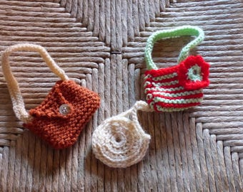 set of 3 bags handmade for cherished corolle dolls