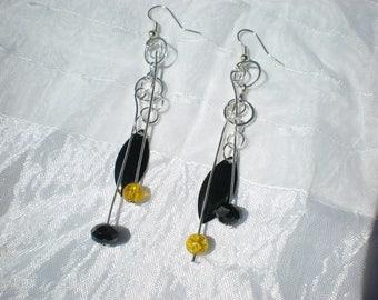Silver EARRINGS - geometric, boho, glass beads and sequin black enamel