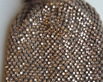 One size hat with Rhinestones with real raccoon fur