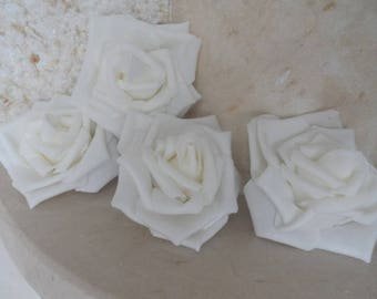 set of 5 white flowers 8cms appliques for sewing or craft