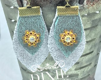 Leather earrings eith handnade Indian embellishments