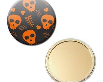 Mirror Halloween Boo skull Skull skull party Trick or Treat Ø 56 mm button pin Badge