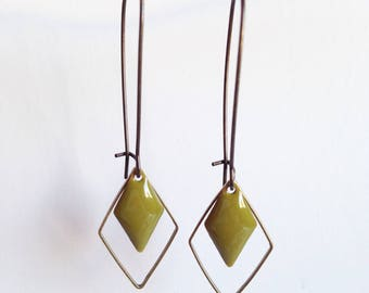 Earrings - diamond - khaki Green