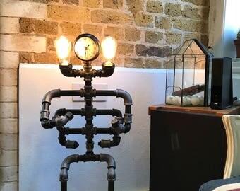 Metal Pipe Steampunk Robot Floor Lamp