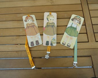 Mothers day gift idea: set of three bookmarks girl vintage, ribbons and charm