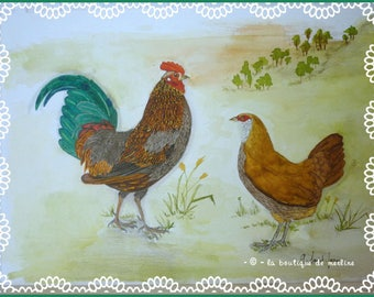 Decoration: drawing and watercolor rooster and hen old