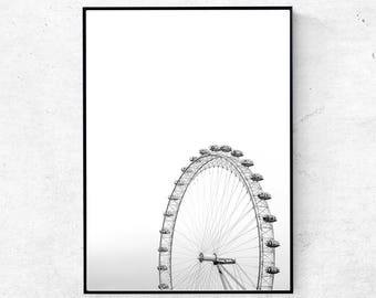London eye print, London print, ferris whell print, London eye black and white photography, London wall art