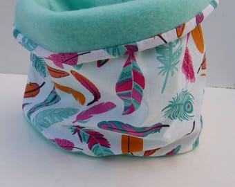 """Snood girl child cotton tube scarf """"feathers"""" and matching Mint fleece"""