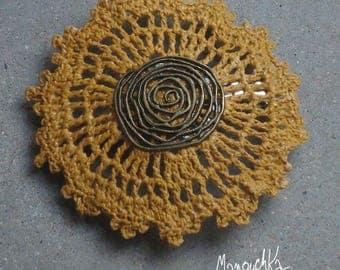 Barrette hair spiral - crochet mustard yellow